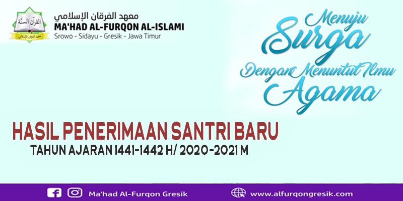 Hasil PSB Ma'had Al-Furqon Tahun Ajaran 1441-1442 H/ 2020-2021 M