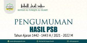 Pengumuman Hasil PSB Ma'had Al-Furqon Tahun Ajaran 1442-1443 H/ 2021-2022 M