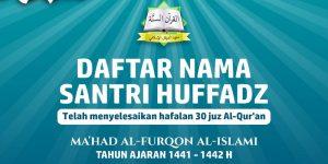 Nama – Nama Santri/wati Penghafal Al-Qur'an TH 1441-1442